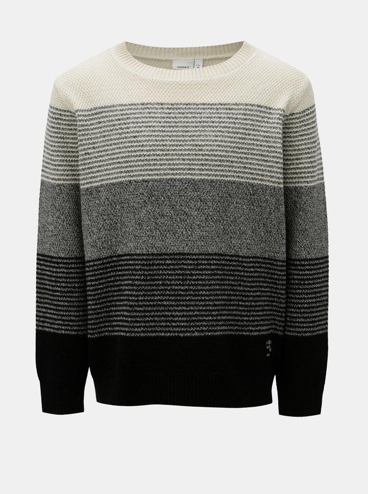4e97e1b7cd60 ... Béžovo–čierny chlapčenský pruhovaný sveter Name it Mones