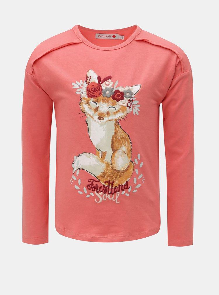 Koralové dievčenské tričko s potlačou líšky BÓBOLI
