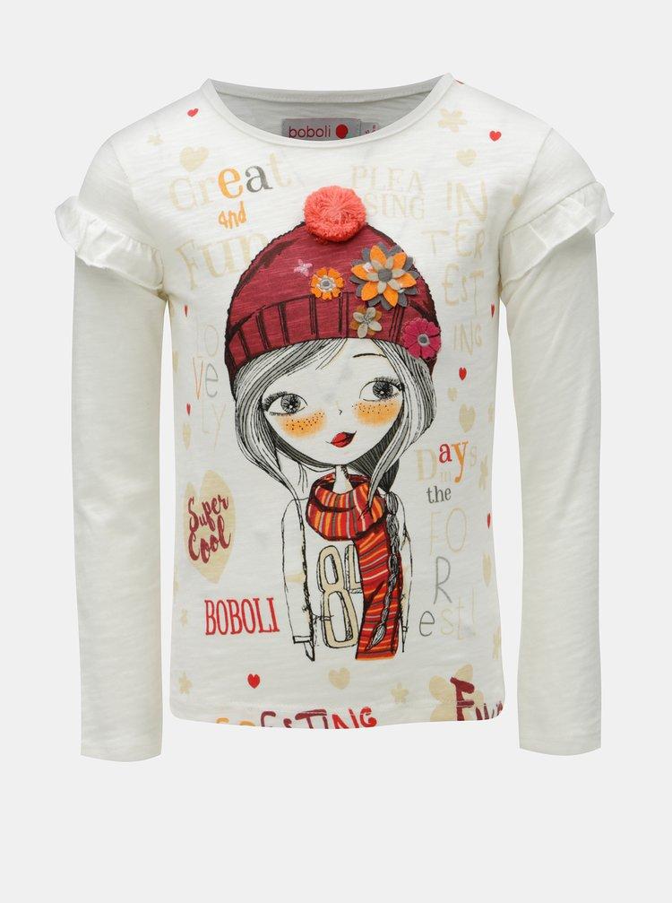 Krémové holčičí tričko s potiskem a bambulí BÓBOLI