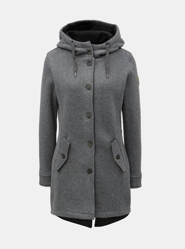 Sivý dámsky melírovaný kabát s veľkou kapucňou killtec