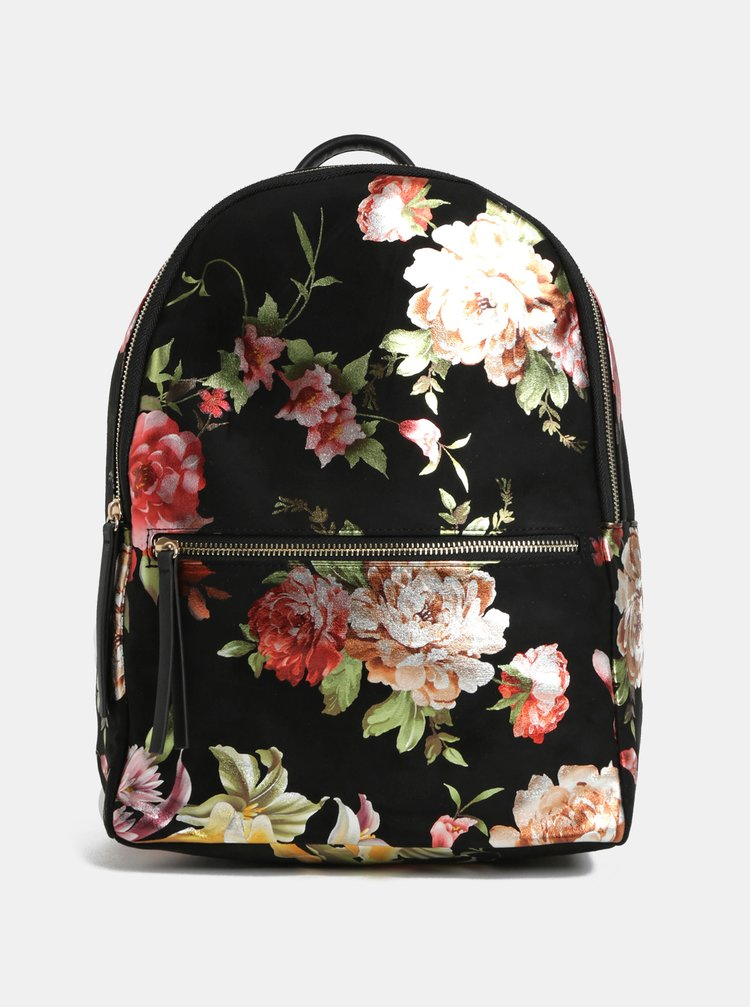 Černý květovaný batoh v semišové úpravě Pieces