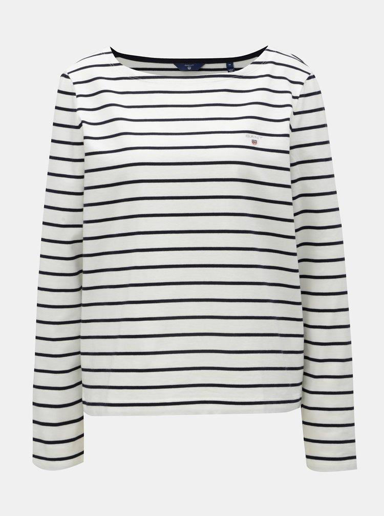 Modro-bílé dámské pruhované basic tričko s dlouhým rukávem GANT