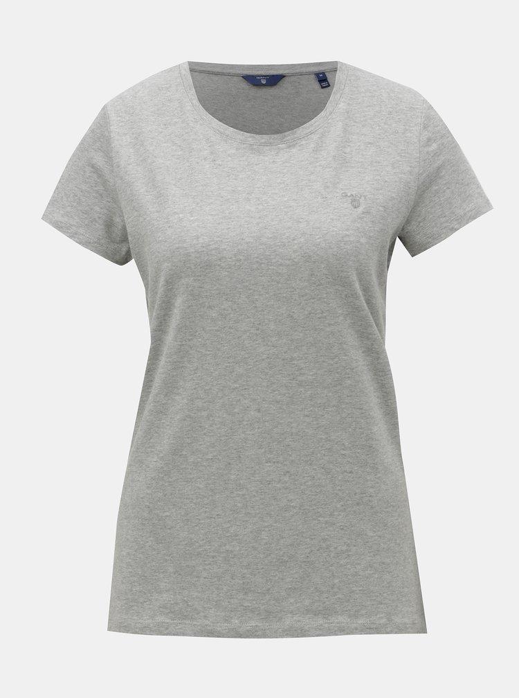 Sivé dámske melírované basic tričko s krátkym rukávom GANT