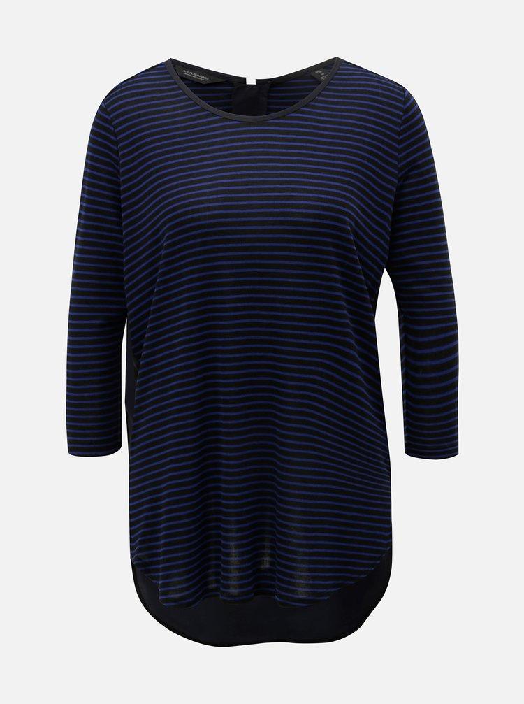Modro–čierne pruhované tričko s predĺženou zadnou časťou Scotch & Soda