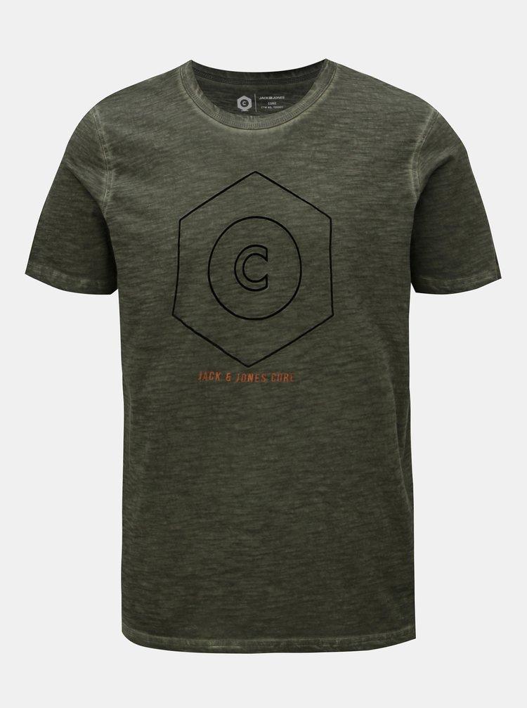 Kaki melírované tričko Jack & Jones Pigments
