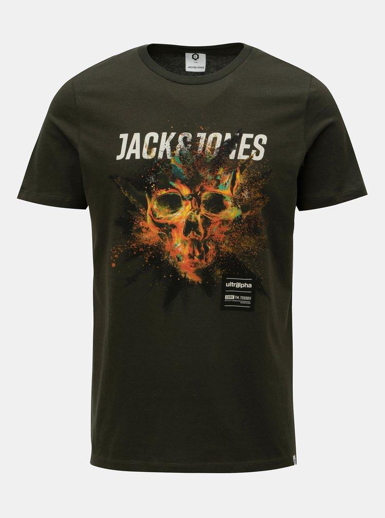 Tmavě zelené tričko s potiskem Jack & Jones Rico