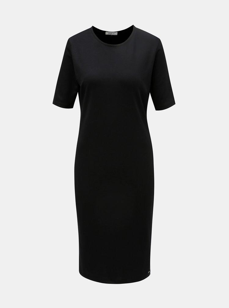 Čierne šaty s koženkovým pruhom na bokoch Cars Lanna