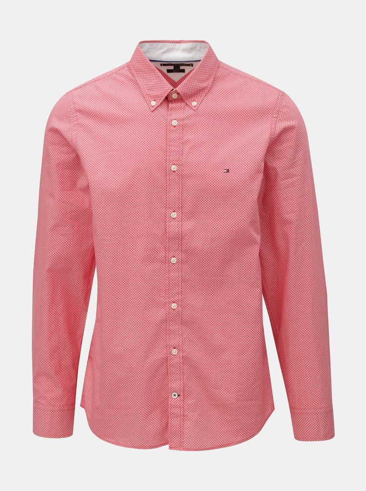 Červená pánská slim fit košile Tommy Hilfiger Diamond