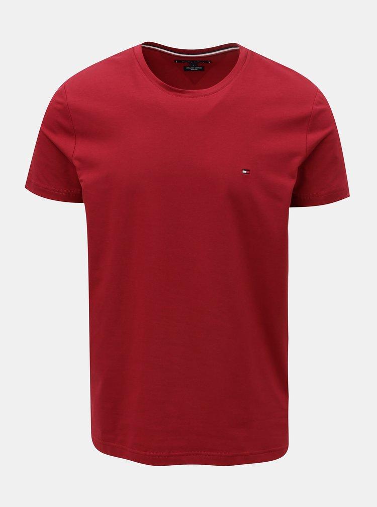 Vínové pánske slim fit basic tričko Tommy Hilfiger Tee