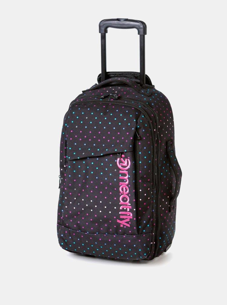 Černá puntíkovaná cestovní taška/batoh na kolečkách Meatfly 40 l