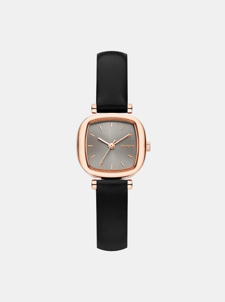 Dámské hodinky s černým koženým páskem Komono Money Penny