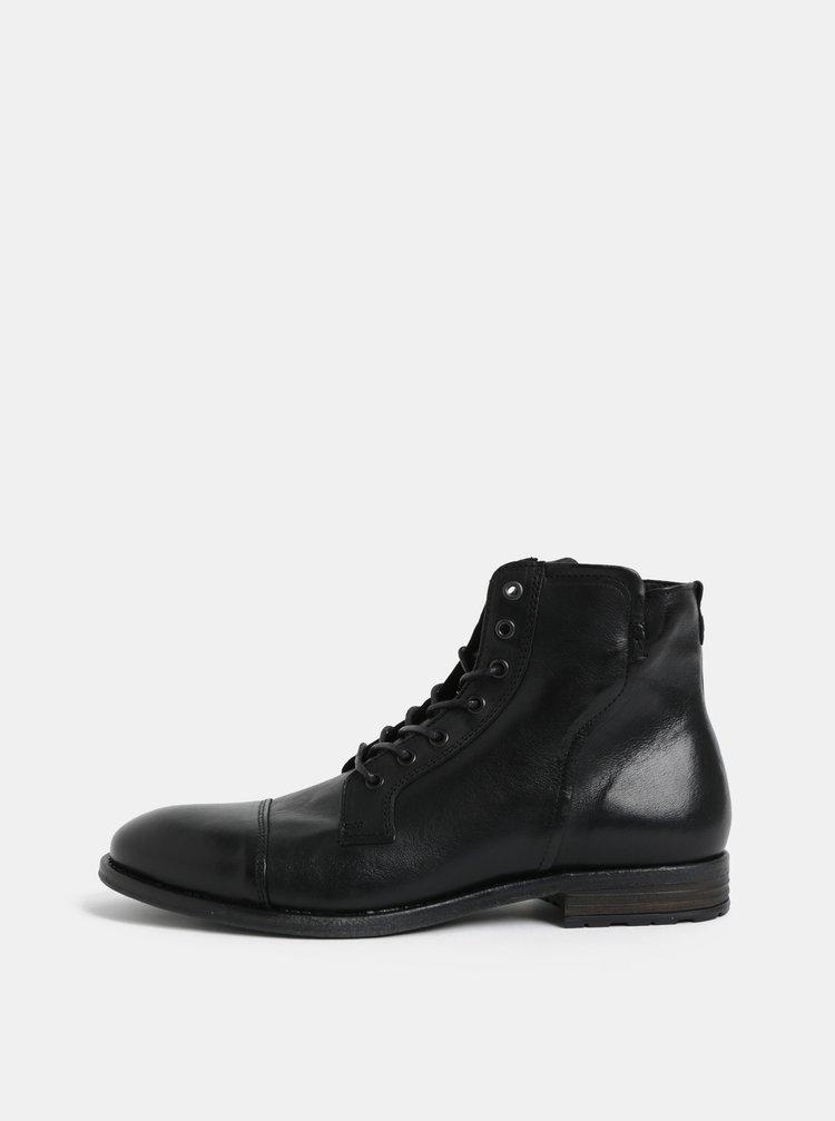 Černé pánské kožené kotníkové boty ALDO