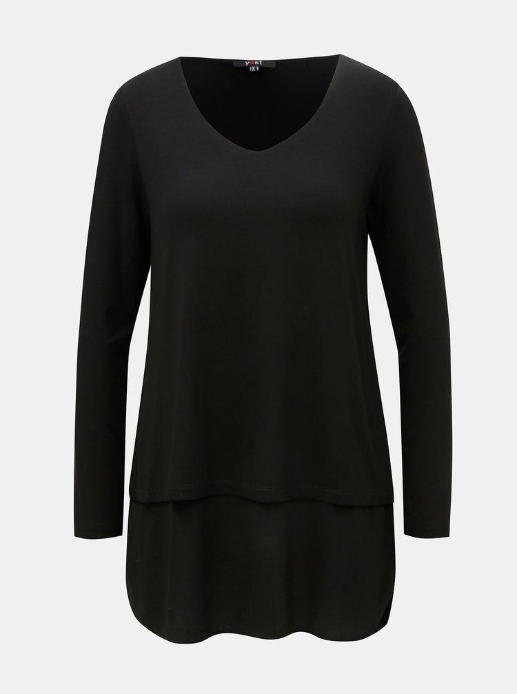 Top negru cu bluza cusuta Yest