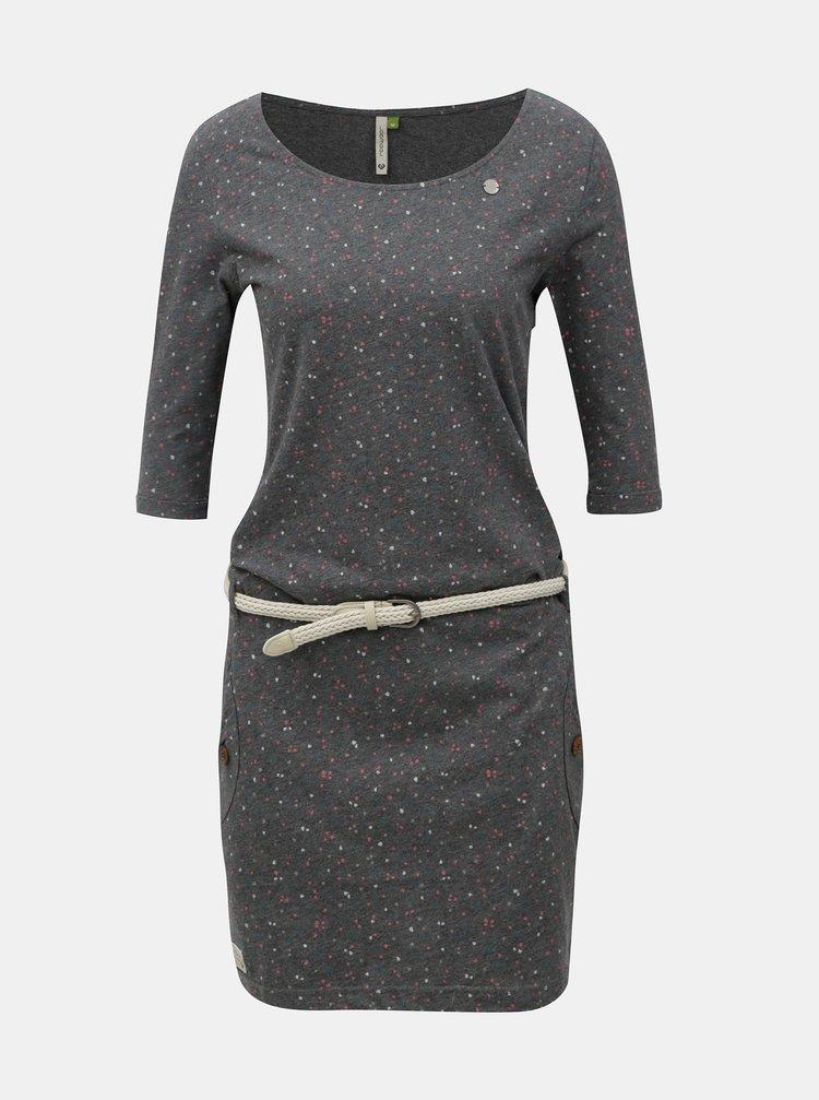 Šedé žíhané vzorované šaty s kapsami Ragwear Tanya Organic