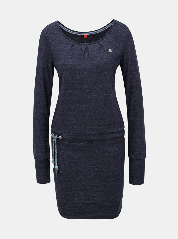 Tmavomodré melírované šaty s dlhým rukávom a zaväzovaním Ragwear Alexa