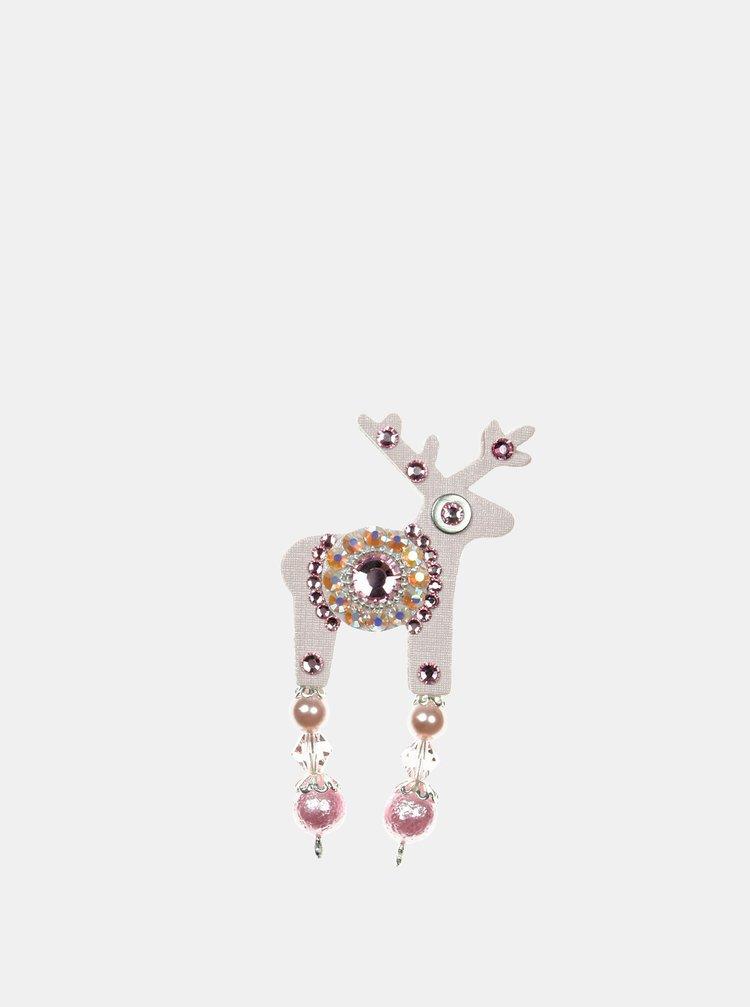 Světle růžová malá brož se středovým zdobením Preciosa Components Deers