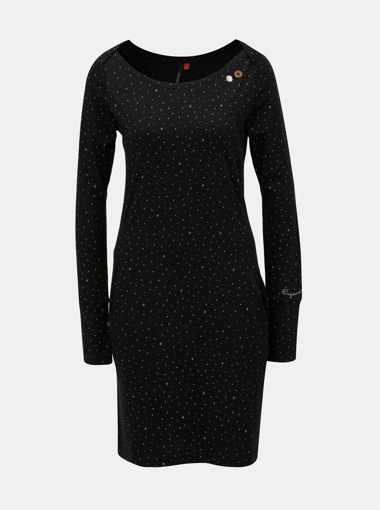 Černé vzorované šaty s kapsami Ragwear River