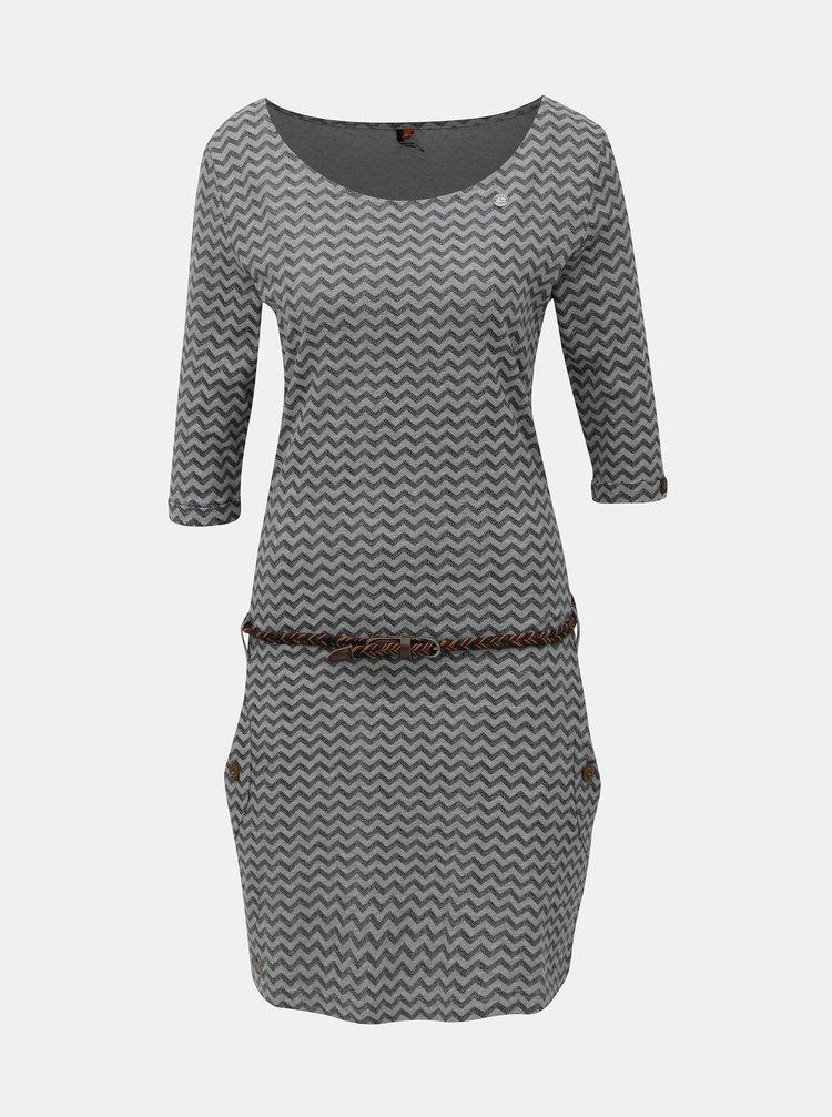 Černo-šedé vzorované šaty s 3/4 rukávem Ragwear Tanya Zig Zag