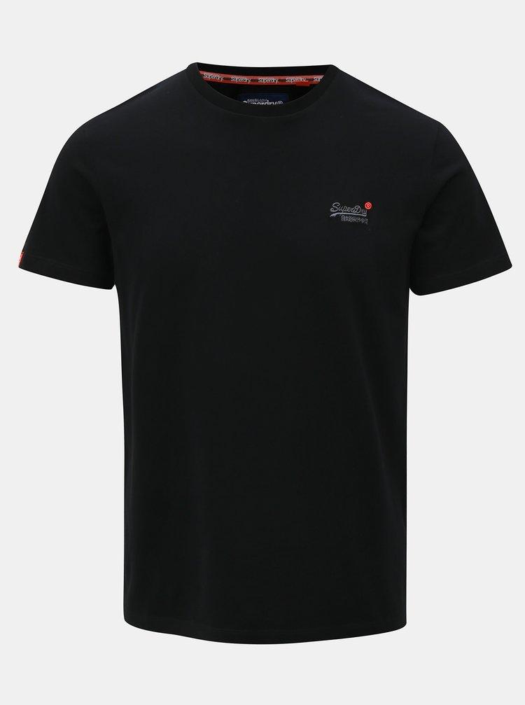 Tricou barbatesc negru cu broderie Superdry