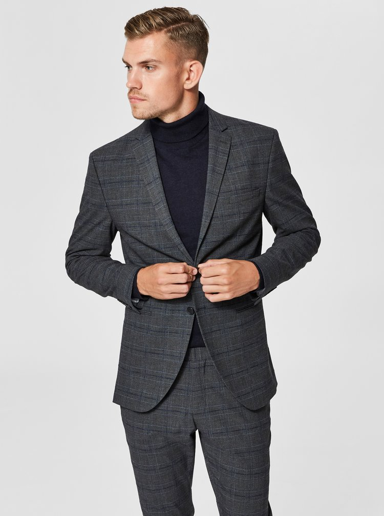 Sacou formal gri in carouri Selected Homme