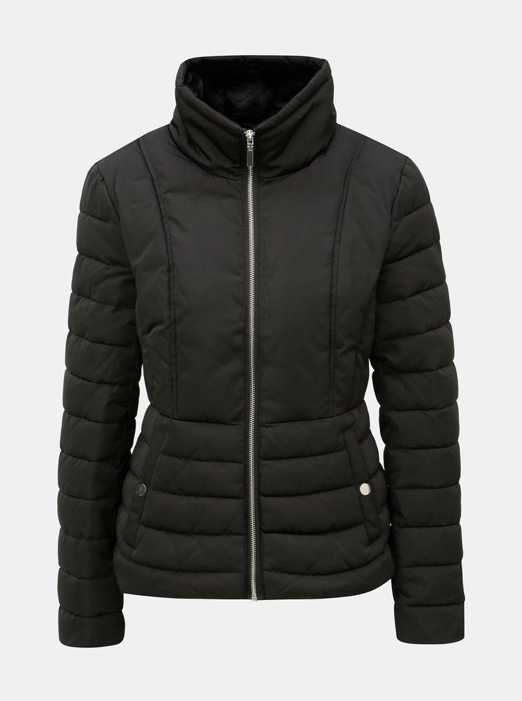 Jacheta de iarna neagra matlasata cu guler inalt Miss Selfridge