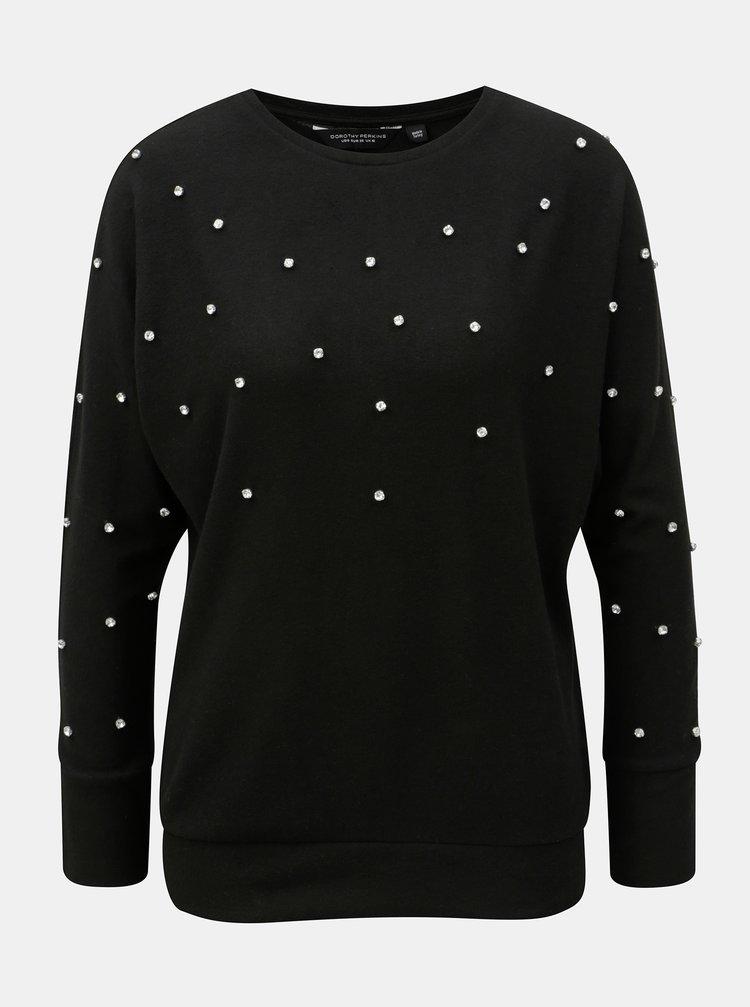 Černý volný svetr s kamínky Dorothy Perkins