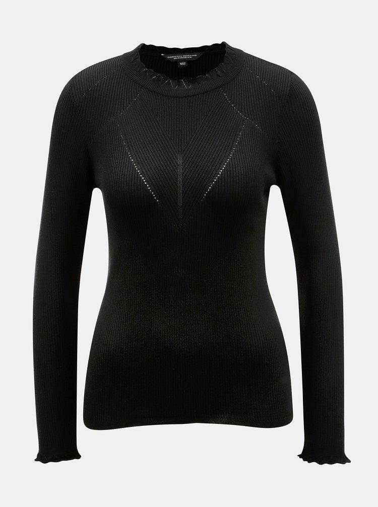 Černý žebrovaný svetr s ozdobnými lemy Dorothy Perkins