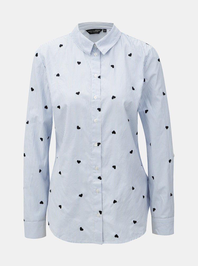 Bílo-modrá pruhovaná košile se srdíčky Dorothy Perkins