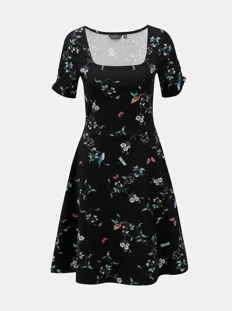 Rochie neagra florala cu decolteu rotund Dorothy Perkins Tall
