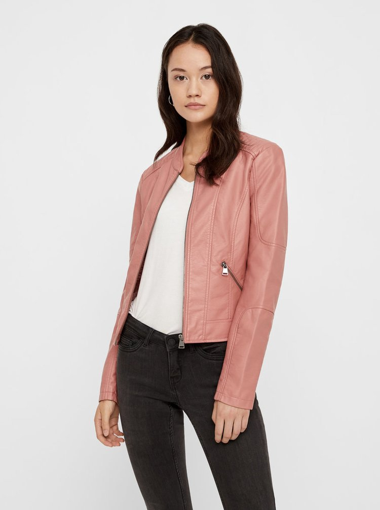 Jacheta roz prafuit din piele sintetica VERO MODA Europe