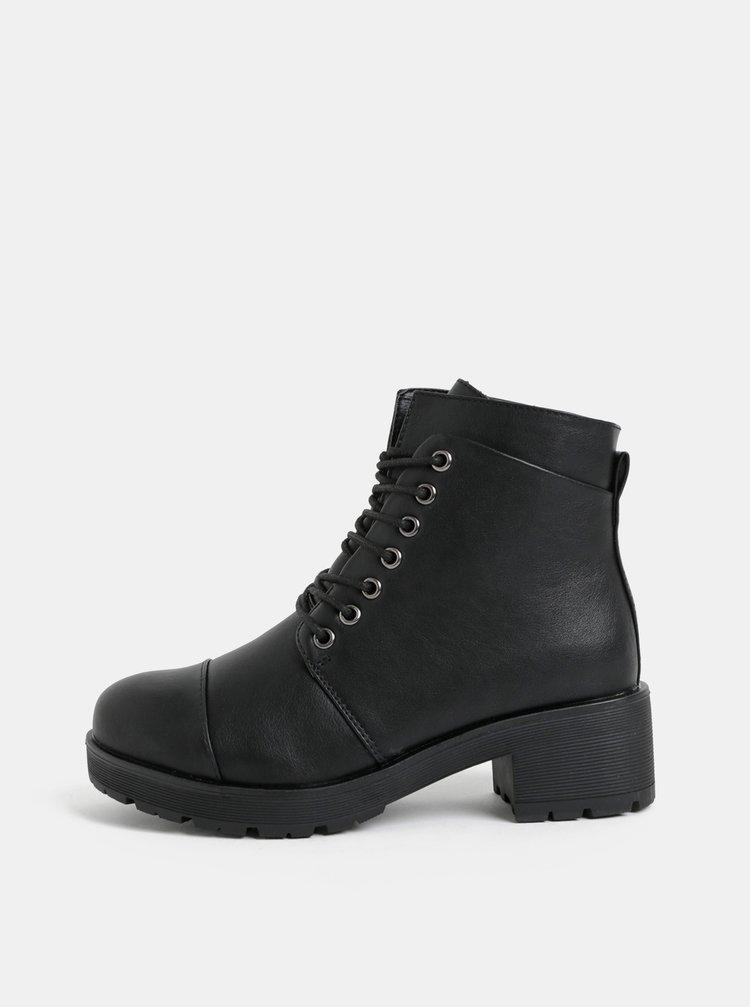 Černé kotníkové boty Pieces Dakota