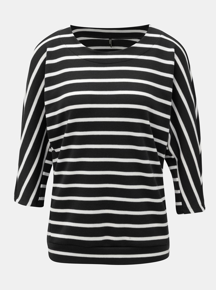 Černý pruhovaný basic svetr s netopýřími rukávy ONLY Anna