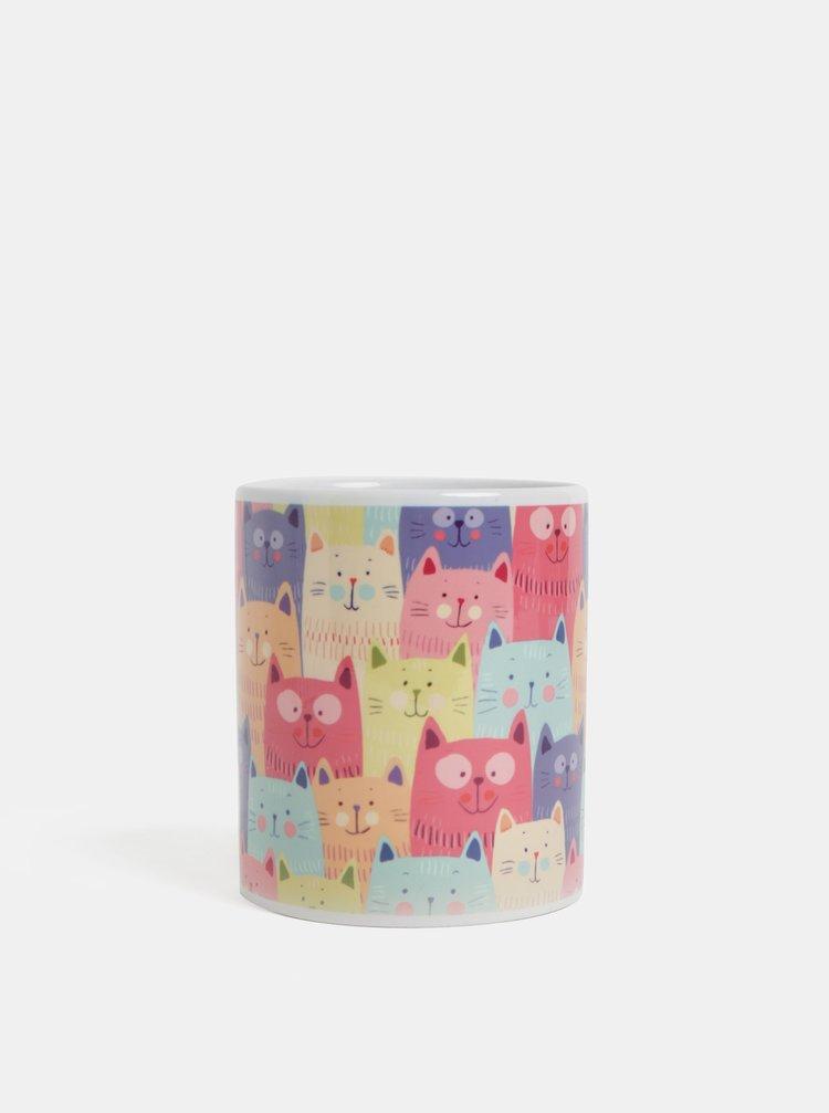 Fialovo-růžový hrnek s motivem koček Butter Kings