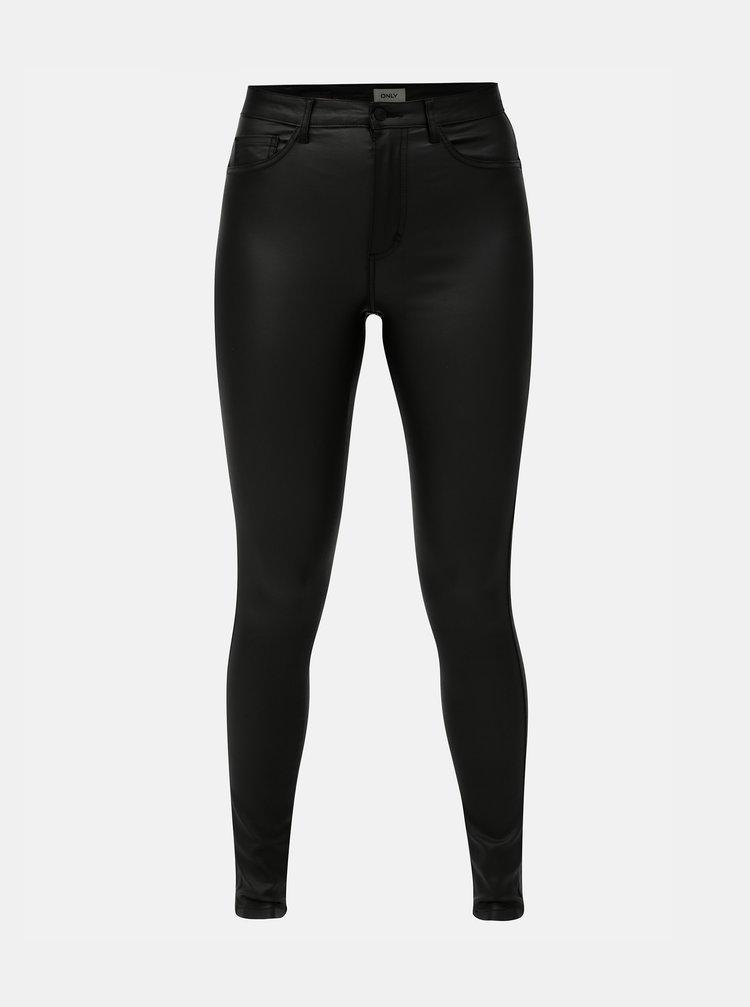 Černé lesklé skinny kalhoty ONLY
