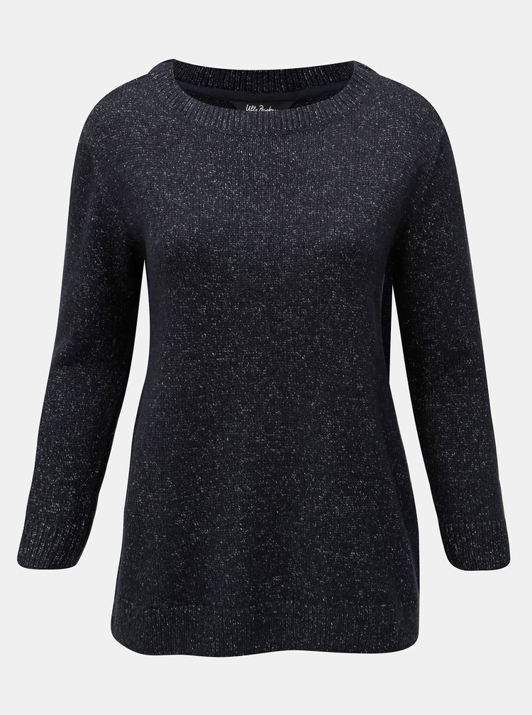 Tmavomodrý melírovaný sveter Ulla Popken