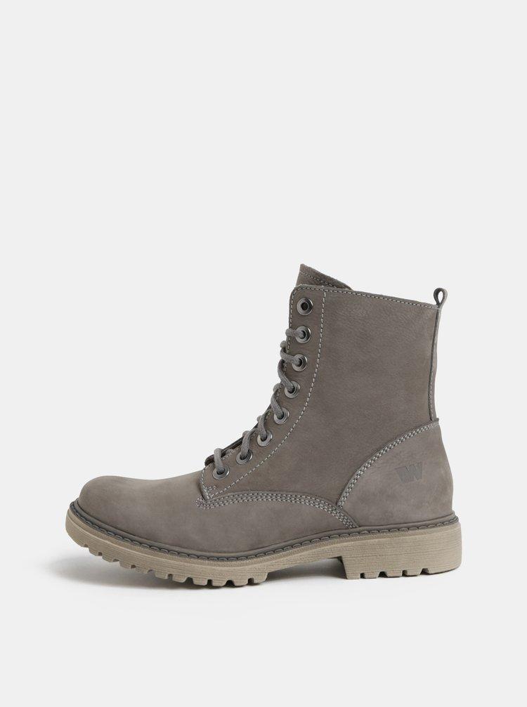 aa9cde797d65 ... Sivé dámske kožené členkové topánky Weinbrenner