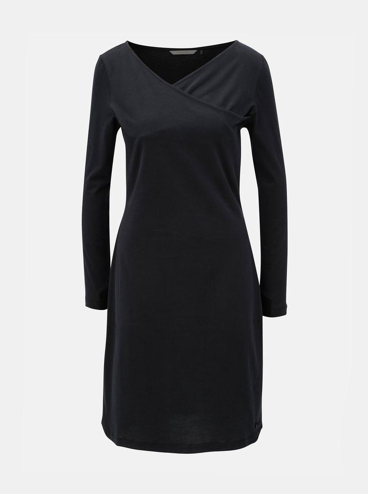 Černé šaty s překládaným výstřihem SKFK Irama
