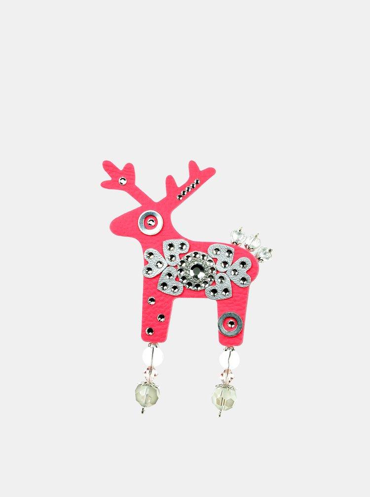 Neonově růžová velká brož se zdobením ve stříbrné barvě Preciosa Components Deers