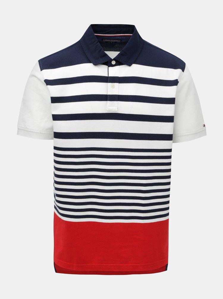 Bílo-modré pánské pruhované regular fit polo tričko Tommy Hilfiger