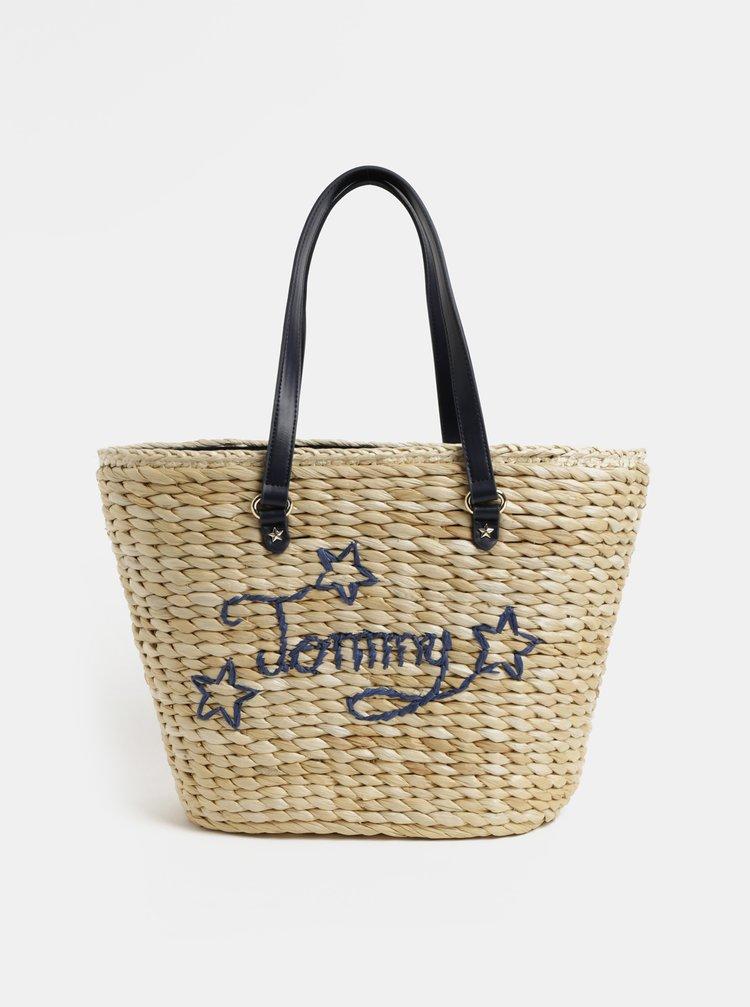 Světle hnědý slaměný shopper Tommy Hilfiger