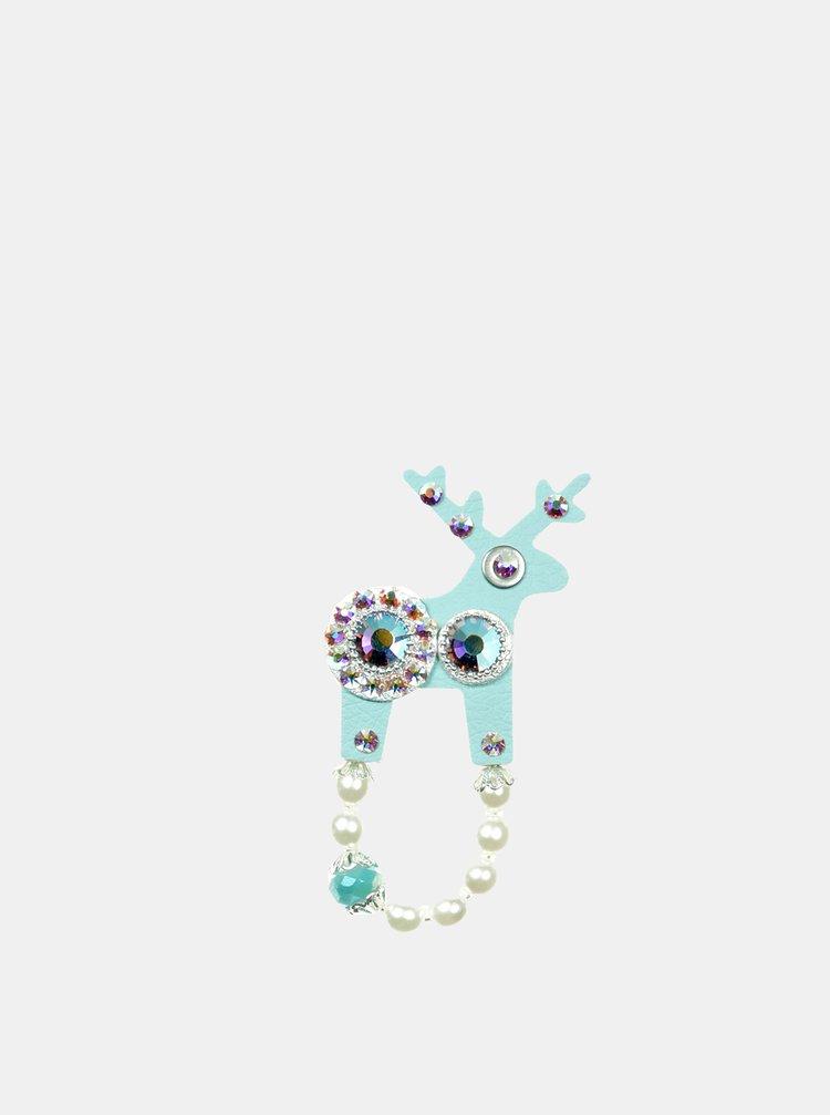 Tyrkysová malá brož se zdobením ve stříbrné barvě Preciosa Components Deers