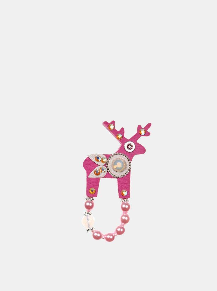 Růžová malá brož s broušeným zdobením Preciosa Components  Deers