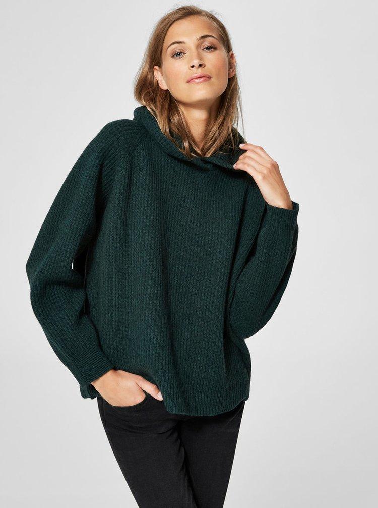 Tmavozelený voľný vlnený sveter s kapucňou Selected Femme Kenna