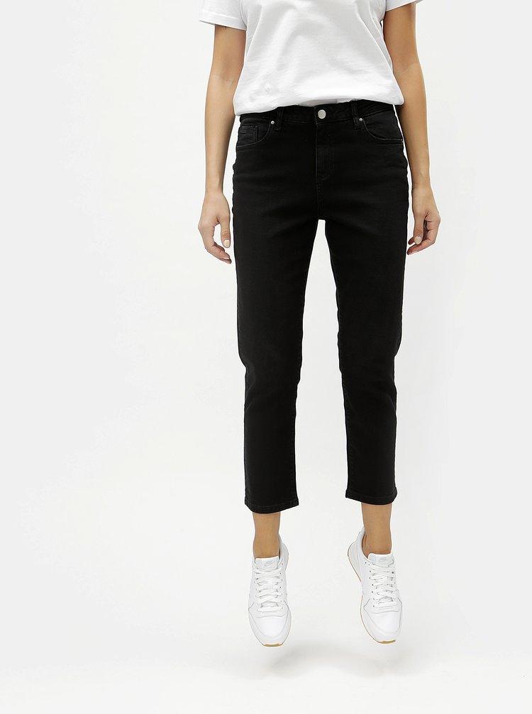 Černé zkrácené straight džíny s vysokým pasem Dorothy Perkins Taylor