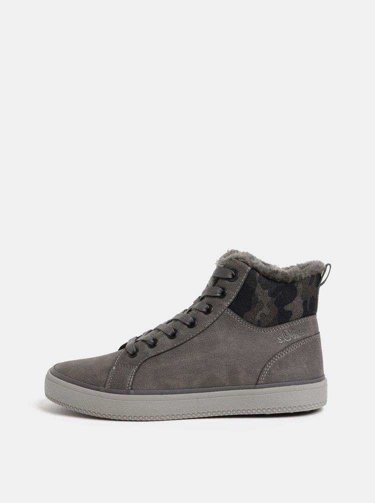 f02fea4b41 Oliver · Sivé dámske členkové zimné topánky s umelou kožušinkou s.Oliver
