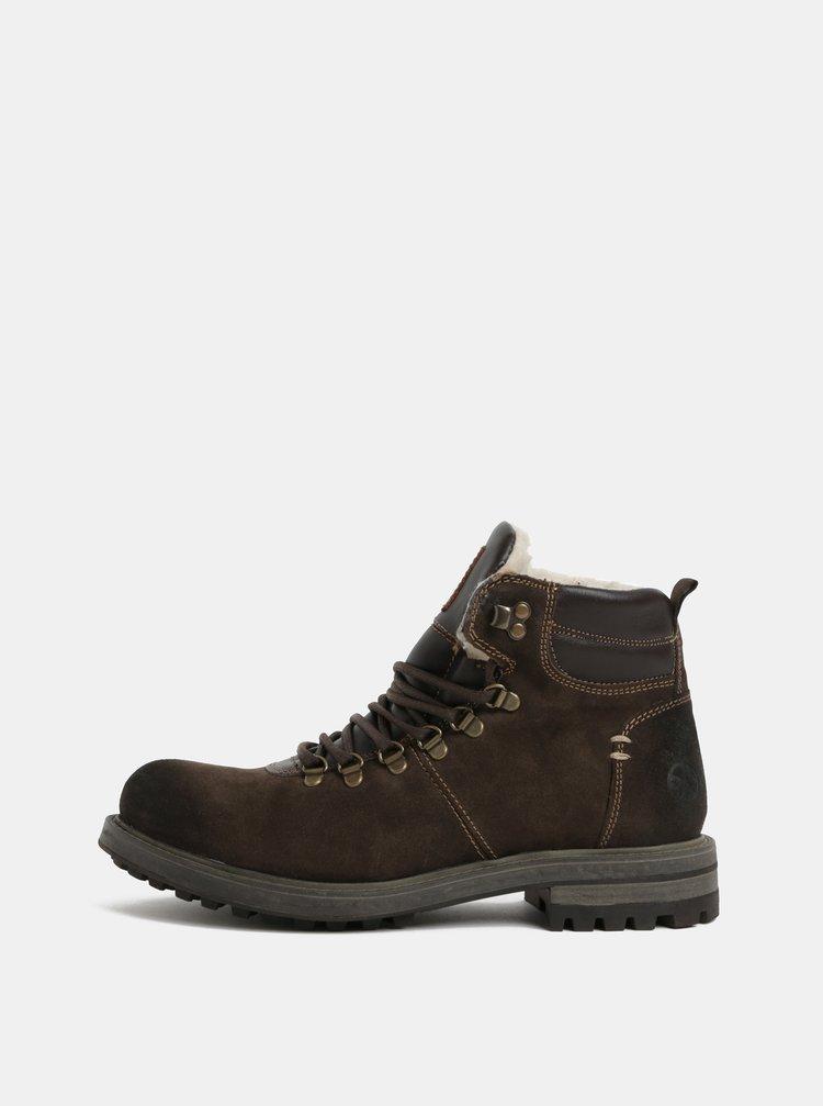 Tmavohnedé pánske semišové zimné topánky s.Oliver