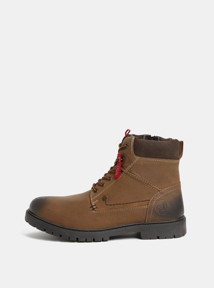 Hnedé pánske kožené členkové zimné topánky s.Oliver