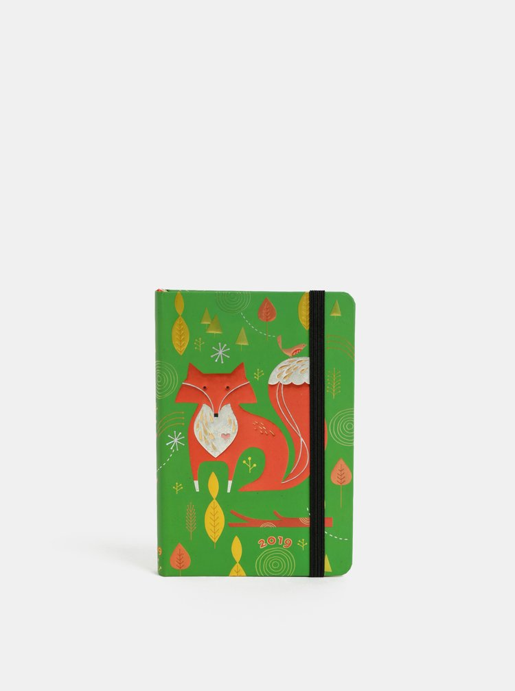 Zelený týdenní mini diář na rok 2019 Paperblanks Mister Fox