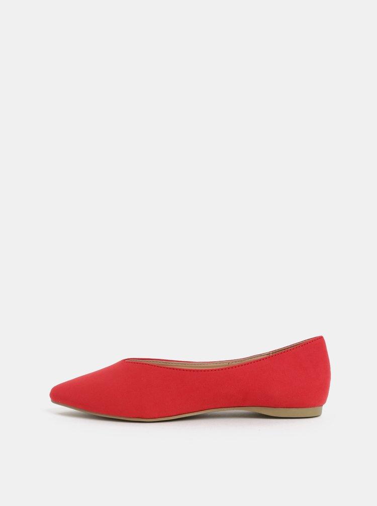 Červené baleríny v semišovej úprave Dorothy Perkins Pria