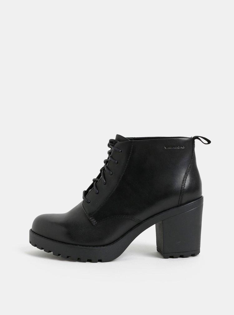 20324c87cb Čierne dámske kožené členkové topánky na podpätku Vagabond Grace ...